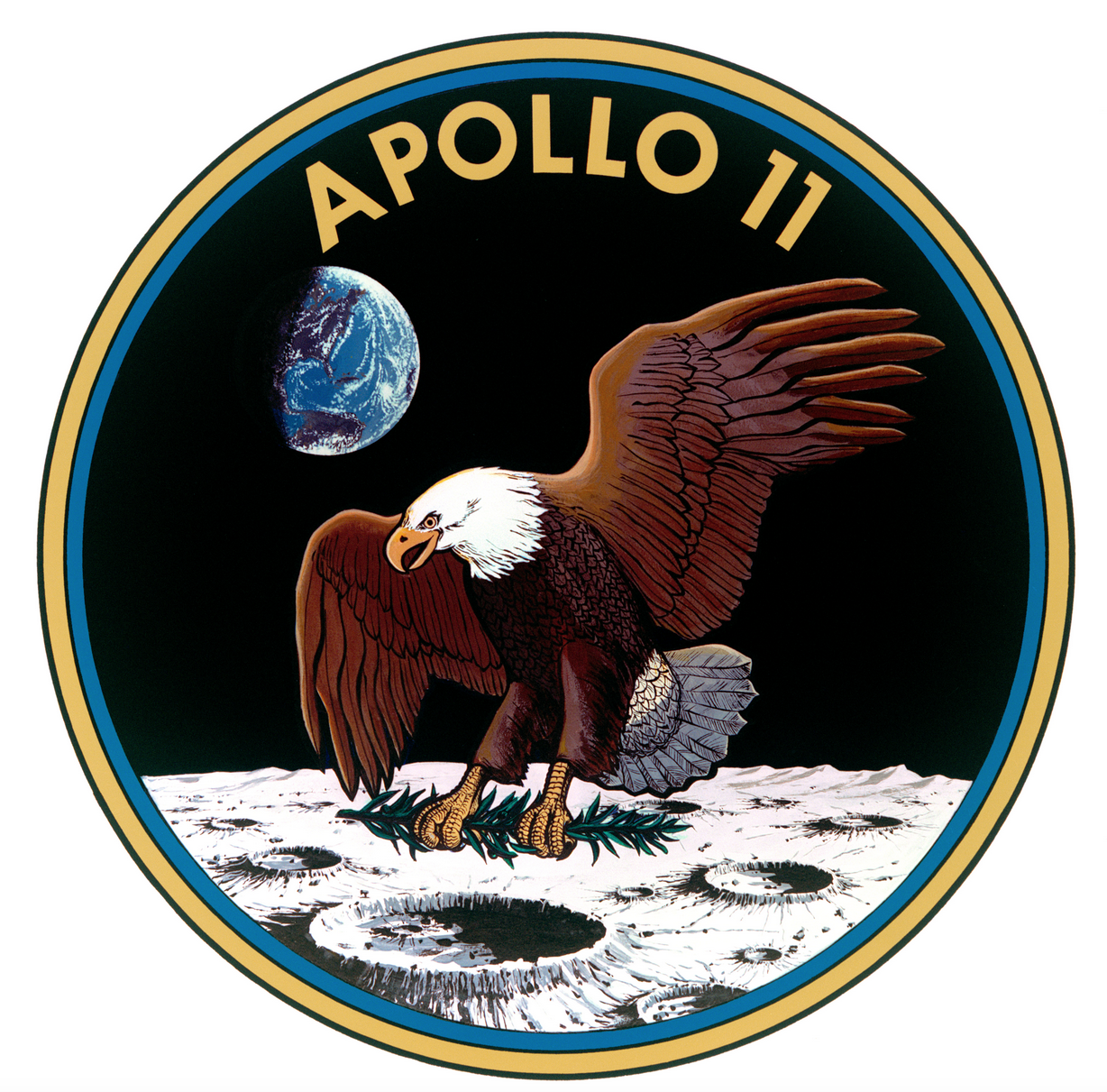 The official emblem of Apollo 11.