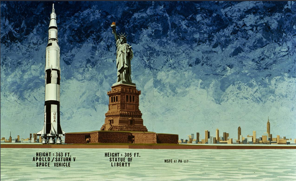 This 1967 illustration compares the Apollo Saturn V Spacecraft to the Statue of Liberty.