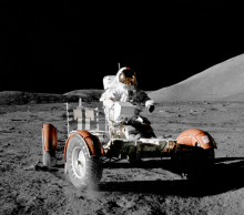 Astronaut in lunar rover