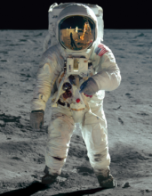 Buzz Aldrin on Moon close up
